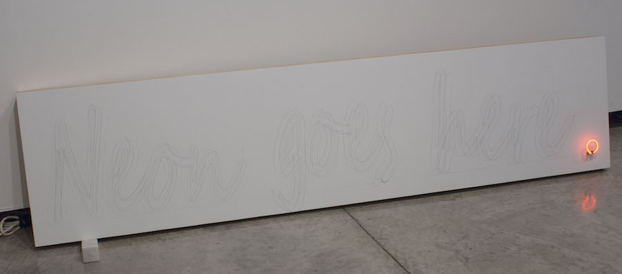 "Wood, Neon, Marble, Graphite 2014 35""x72""x5"""